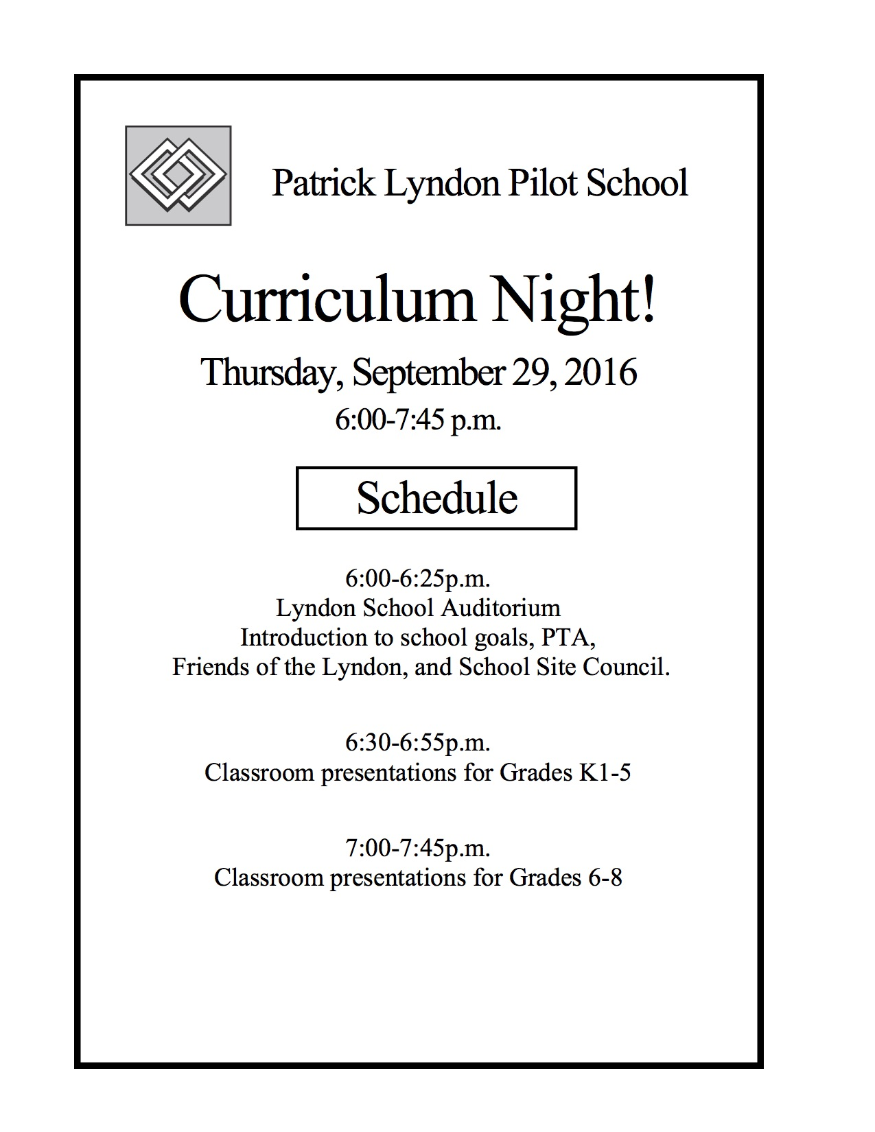 Curriculum Night - The Patrick Lyndon School